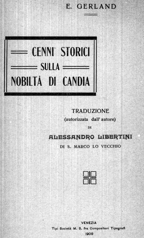 CENNI STORICI SULLA NOBILTÀ DI CANDIA