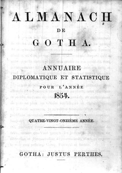ALMANACH DE GOTHA, 1854. ANNUAIRE GÉNÉALOGIQUE, DIPLOMATIQUE ET STATISTIQUE