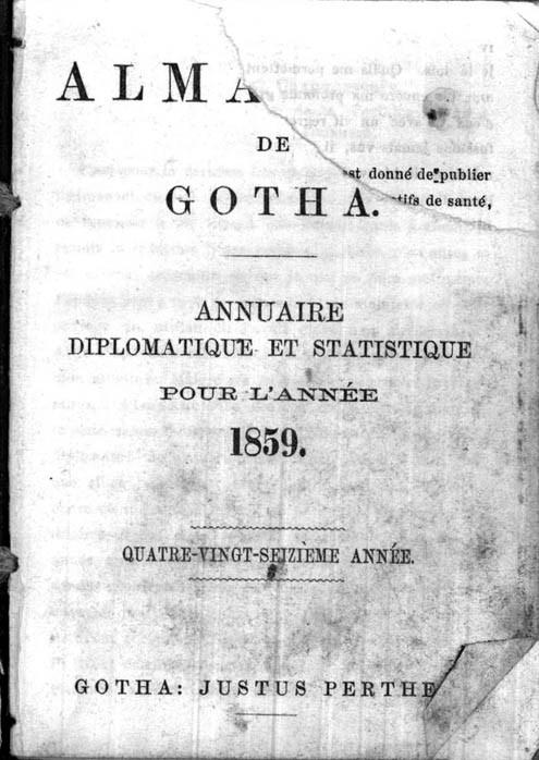 ALMANACH DE GOTHA, 1859. ANNUAIRE GÉNÉALOGIQUE, DIPLOMATIQUE ET STATISTIQUE