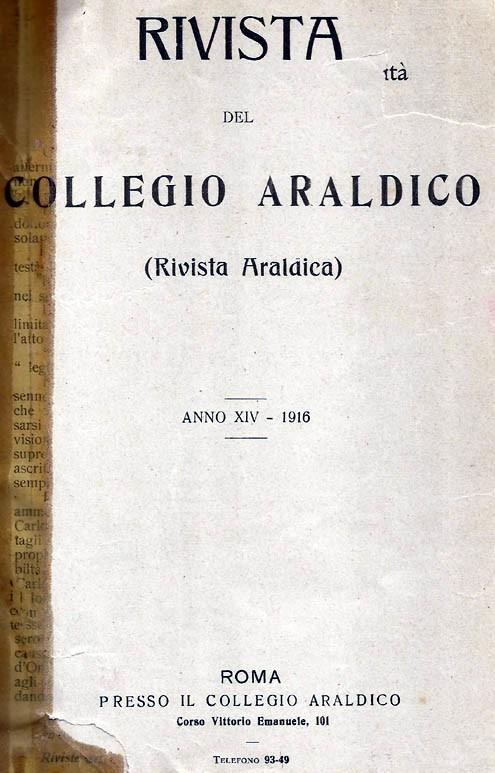 RIVISTA DEL COLLEGIO ARALDICO (RIVISTA ARALDICA), ANNO XIV, 1916