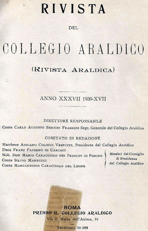 RIVISTA DEL COLLEGIO ARALDICO (RIVISTA ARALDICA), ANNO XXXVII, 1939
