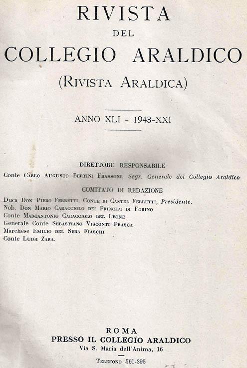 RIVISTA DEL COLLEGIO ARALDICO (RIVISTA ARALDICA), ANNO XLI, 1943