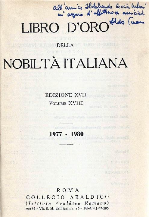 Libro d'Oro della Nobiltà Italiana. Ed. XVII, Vol.  XVIII - 1977-1980