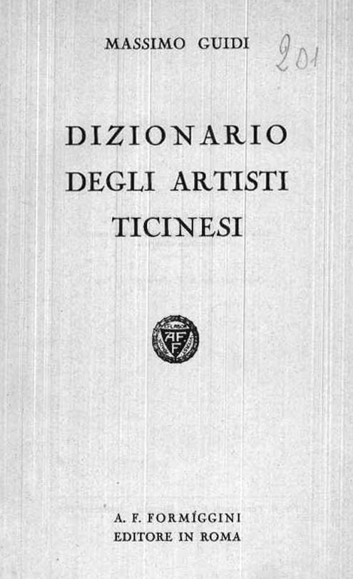 DIZIONARIO DEGLI ARTISTI TICINESI