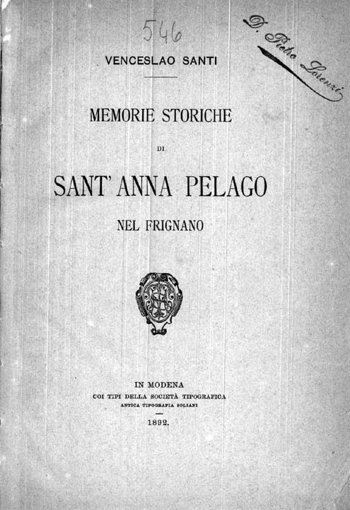 MEMORIE STORICHE DI SANT'ANNA PELAGO NEL FRIGNANO