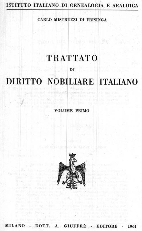 TRATTATO DI DIRITTO NOBILIARE ITALIANO. 3 voll.