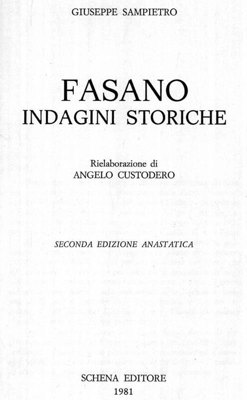 FASANO – INDAGINI STORICHE