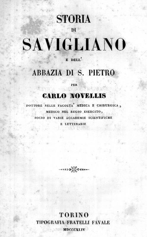 STORIA DI SAVIGLIANO E DELL'ABBAZIA DI S. PIETRO