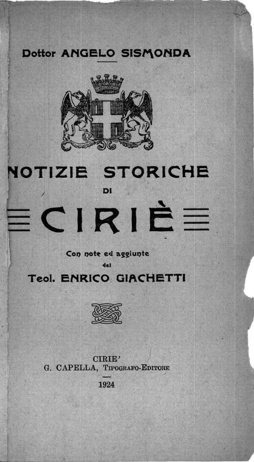 NOTIZIE STORICHE DI CIRIE'