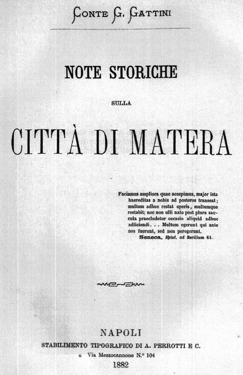 NOTE STORICHE SULLA CITTA' DI MATERA