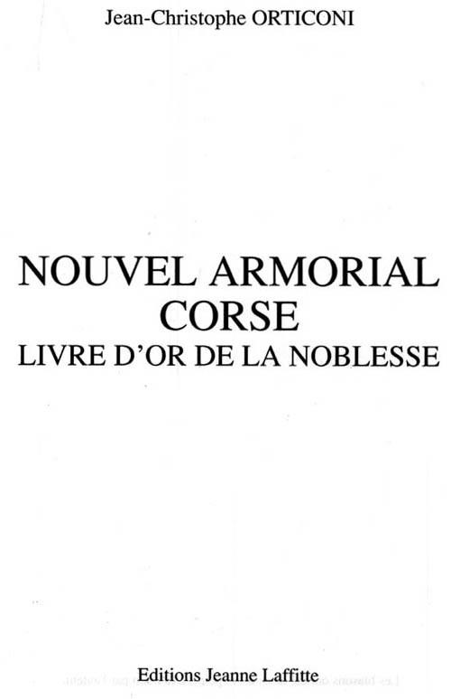 NOUVEL ARMORIAL CORSE Livre d'Or de la Noblesse