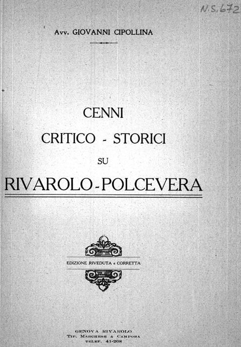 CENNI CRITICO – STORICI SU RIVAROLO (POLCEVERA) Edizione riveduta e corretta