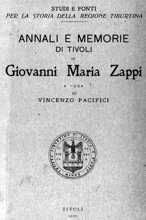 ANNALI E MEMORIE DI TIVOLI  a cura di Vincenzo Pacifici