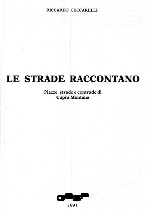 LE STRADE RACCONTANO