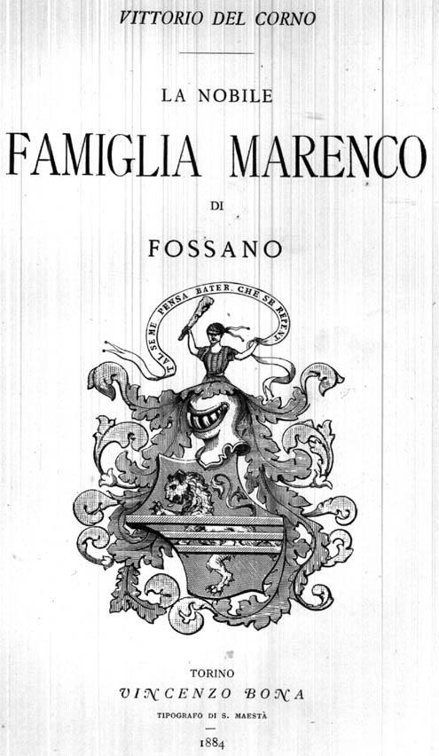 LA NOBILE FAMIGLIA MARENCO DI FOSSANO.