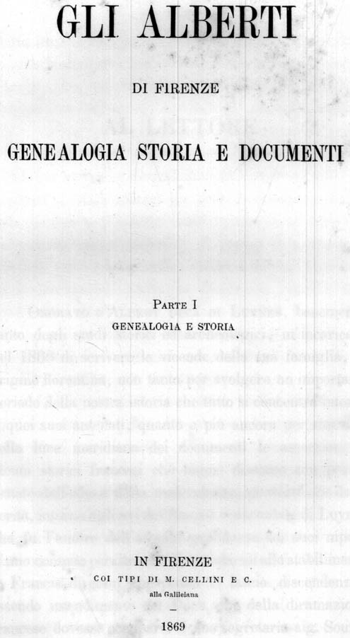 GLI ALBERTI DI FIRENZE. GENEALOGIA, STORIA E DOCUMENTI.