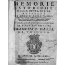 MEMORIE ISTORICHE DELLA CITTA' DI PISA